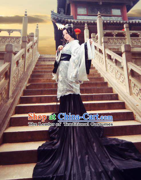 Traditional Ancient Chinese Imperial Consort Costume, Elegant Hanfu Clothing Chinese Han Dynasty Imperial Emperess Tailing Embroidered Gorgeous Clothing for Women