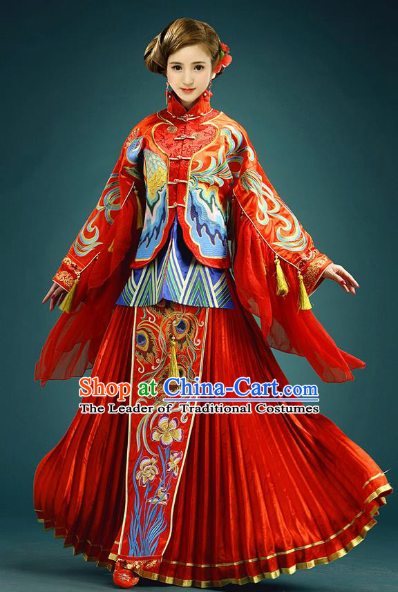 Traditional Ancient Chinese Costume Xiuhe Suits, Chinese Style Wedding Ruffled Cuff Dress, Restoring Ancient Women Red Longfeng Phoenix Flown, Bride Toast Cheongsam for Women
