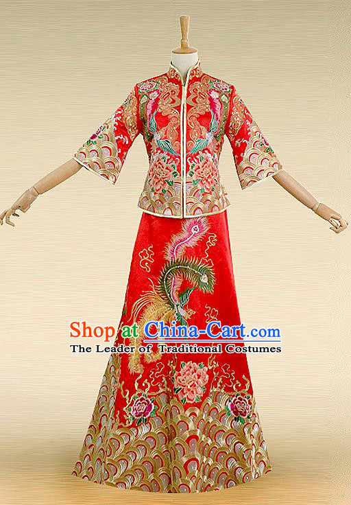 Traditional Ancient Chinese Costume Hot Fix Rhinestone Xiuhe Suits, Chinese Style Wedding Bride Fishtail Full Dress, Restoring Ancient Women Red Embroidered Dragon and Phoenix Slim Flown, Bride Toast Cheongsam for Women