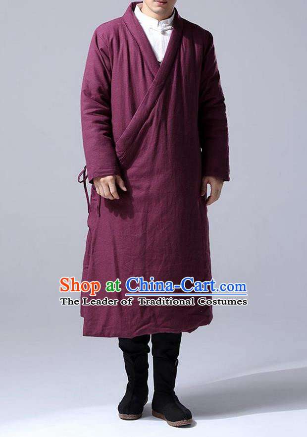Traditional 	 Top Chinese National Tang Suits Flax Frock Costume, Martial Arts Kung Fu Slant Opening Fuchsia Hanfu Long Gown, Kung fu Plate Buttons Unlined Upper Garment Coat, Chinese Taichi Cotton-Padded Robes Wushu Clothing for Men
