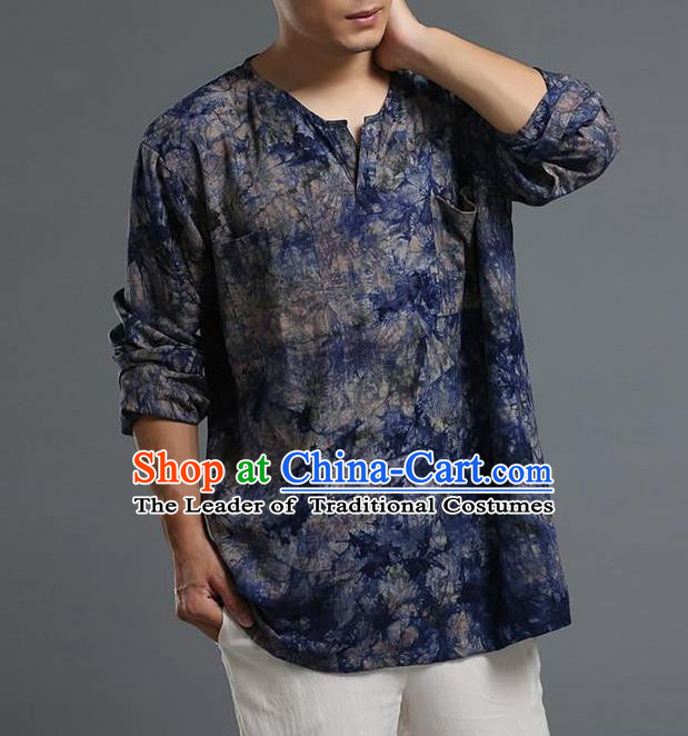 Traditional Top Chinese Yunnan National Tang Suits Flax Frock Costume, Martial Arts Kung Fu Long Sleeve Grasp the  Dye T-shirt, Kung fu Plate Buttons Unlined Upper Garment Blouse, Chinese Taichi Printing Shirts Wushu Clothing for Men