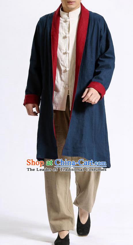 Traditional Top Chinese National Tang Suits Flax Frock Costume, Martial Arts Kung Fu Beige Lapel Double-sided Black-Red Cardigan, Kung fu Unlined Upper Garment Cloak, Chinese Taichi Dust Coats Wushu Clothing for Men