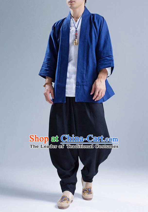Traditional Top Chinese National Tang Suits Flax Frock Costume, Martial Arts Kung Fu Blue Short Cardigan, Kung fu Unlined Upper Garment Zen Coat, Chinese Taichi Coats Wushu Clothing for Men