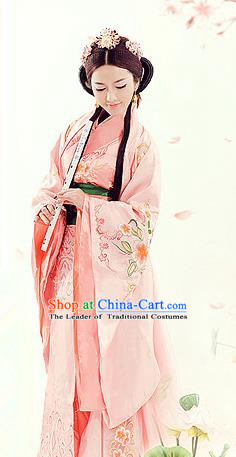 Traditional Ancient Chinese Imperial Empress Costume, Chinese Han Dynasty Princess Elegant Pink Dress, Chinese Princess Robes Imperial Consort Embroidered Tailing Clothing for Women