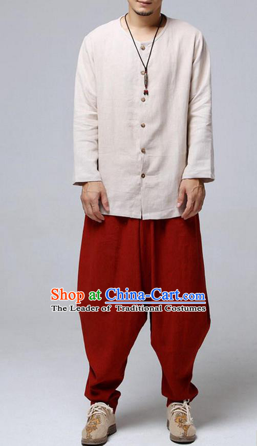 Traditional Top Chinese National Tang Suits Flax Frock Costume, Martial Arts Kung Fu Front Opening Beige Blouse, Kung fu Unlined Upper Garment, Chinese Taichi Shirts Wushu Clothing for Men