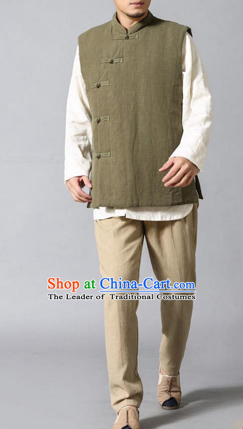 Traditional Top Chinese National Tang Suits Linen Frock Costume, Martial Arts Kung Fu Slant Opening Olive Green Vests, Kung fu Plate Buttons Waistcoat, Chinese Taichi Cotton-Padded Vest Wushu Clothing for Men