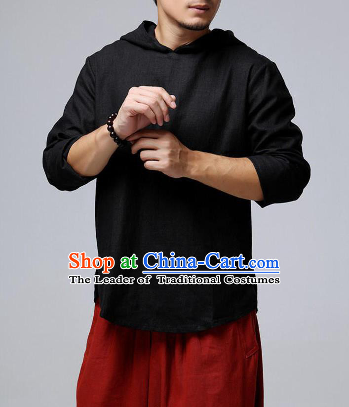 Traditional Top Chinese National Tang Suits Linen Frock Costume, Martial Arts Kung Fu Long Sleeve Black Hooded T-Shirt, Kung fu Upper Outer Garment, Chinese Taichi Shirts Wushu Clothing for Men