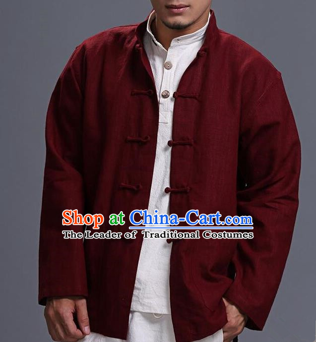 Traditional Top Chinese National Tang Suits Linen Costume, Martial Arts Kung Fu Front Opening Purplish Red Coats, Kung fu Plate Buttons Jacket, Chinese Taichi Short Coats Wushu Clothing for Men