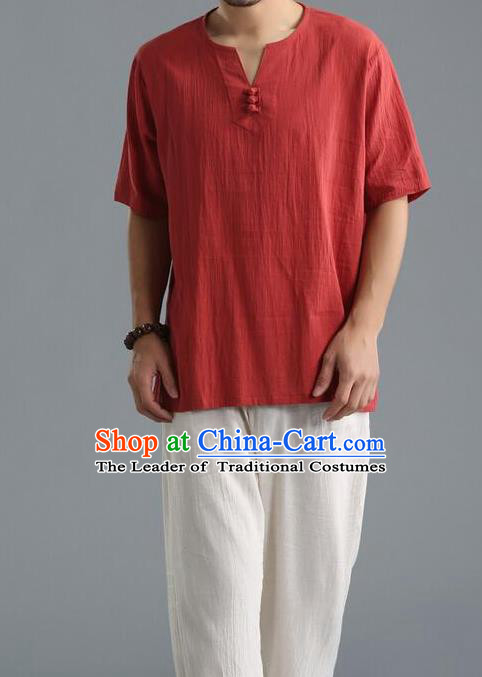 Traditional Top Chinese National Tang Suits Linen Frock Costume, Martial Arts Kung Fu Short Sleeve Carmine T-Shirt, Kung fu Unlined Upper Garment, Chinese Taichi Shirts Wushu Clothing for Men