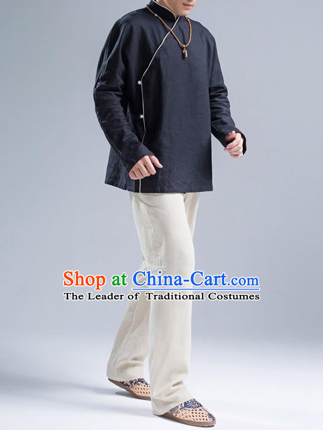 Traditional Top Chinese National Tang Suits Linen Frock Costume, Martial Arts Kung Fu Slant Opening Black Jacket Shirt, Kung fu Jade Buckle Thin Upper Outer Garment Blouse, Chinese Taichi Thin Coats Wushu Clothing for Men