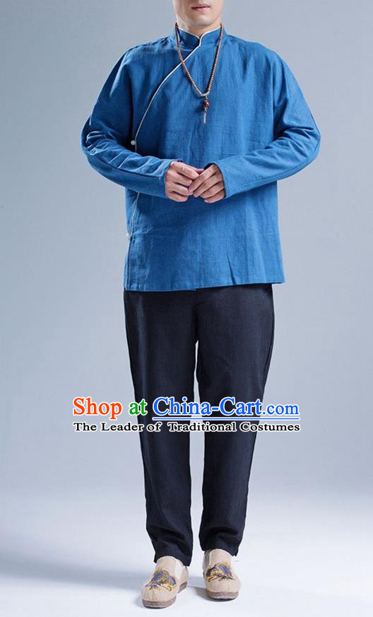 Traditional Top Chinese National Tang Suits Linen Frock Costume, Martial Arts Kung Fu Slant Opening Blue Jacket Shirt, Kung fu Jade Buckle Thin Upper Outer Garment Blouse, Chinese Taichi Thin Coats Wushu Clothing for Men