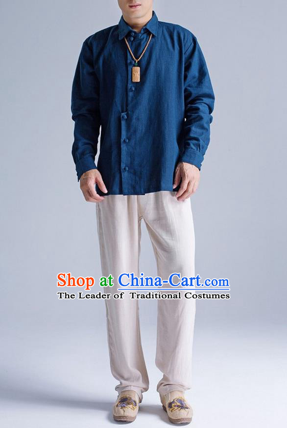 Traditional Top Chinese National Tang Suits Linen Frock Costume, Martial Arts Kung Fu Asymmetric Opening Navy Shirt, Kung fu Plate Buttons Thin Upper Outer Garment Blouse, Chinese Taichi Thin Shirts Wushu Clothing for Men