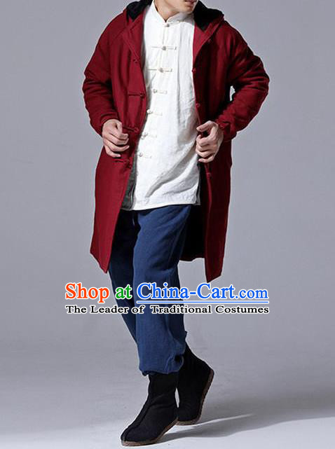 Traditional Top Chinese National Tang Suits Linen Costume, Martial Arts Kung Fu Front Opening Dark Red Add Wool Long Hooded Coats, Kung fu Plate Buttons Cotton-Padded Dust Coat, Chinese Taichi Coats Wushu Clothing for Men