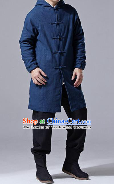 Traditional Top Chinese National Tang Suits Linen Costume, Martial Arts Kung Fu Front Opening Dark Navy Add Wool Long Hooded Coats, Kung fu Plate Buttons Cotton-Padded Dust Coat, Chinese Taichi Coats Wushu Clothing for Men