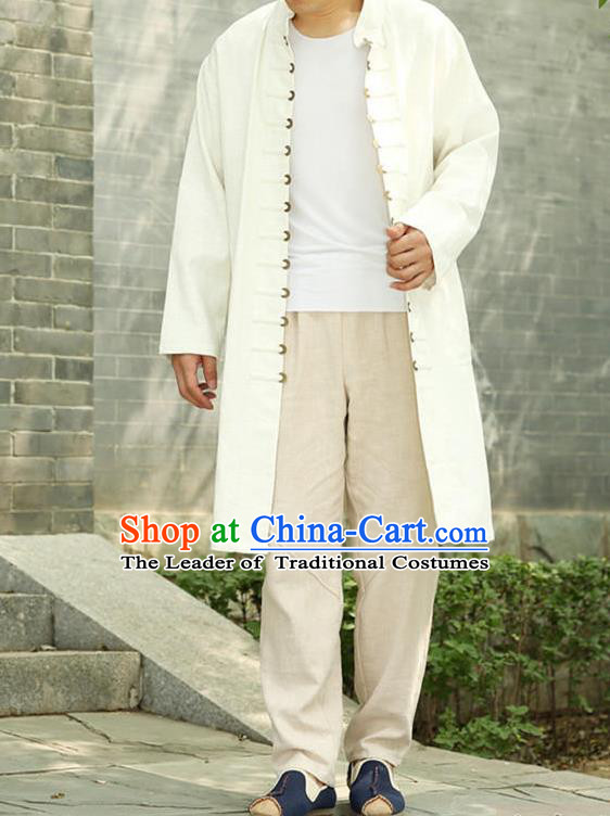 Traditional Top Chinese National Tang Suits Linen Costume, Martial Arts Kung Fu Front Opening White Long Coats, Kung fu Copper Buckle Jacket, Chinese Taichi Dust Coats Wushu Clothing for Men