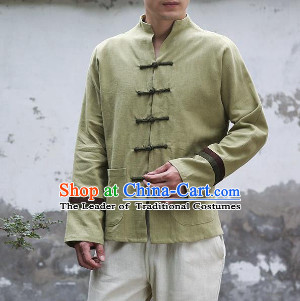 Traditional Top Chinese National Tang Suits Linen Frock Costume, Martial Arts Kung Fu Embroidery Totem Slant Opening Green Shirt, Kung fu Plate Buttons Thin Upper Outer Garment Jacket, Chinese Taichi Thin Coats Wushu Clothing for Men