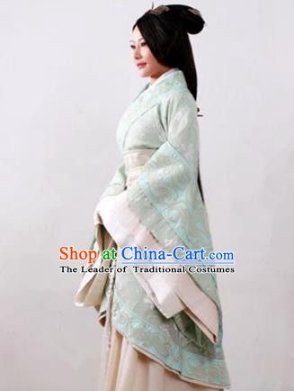Traditional Top Chinese Ancient Imperial Consort Costume, Elegant Young Lady Hanfu Green Dress Chinese Qin Dynasty Imperial Princess Embroidered Tailing Clothing for Women