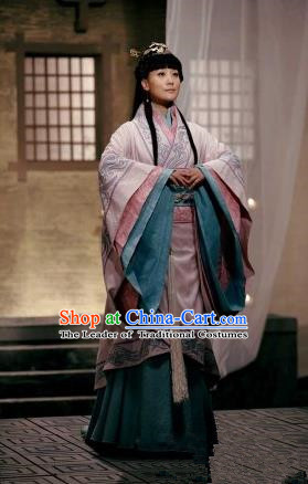 Traditional Top Chinese Ancient Imperial Consort Costume, Elegant Young Lady Hanfu Dance Dress Chinese Qin Dynasty Imperial Senior Concubine Embroidered Tailing Clothing for Women