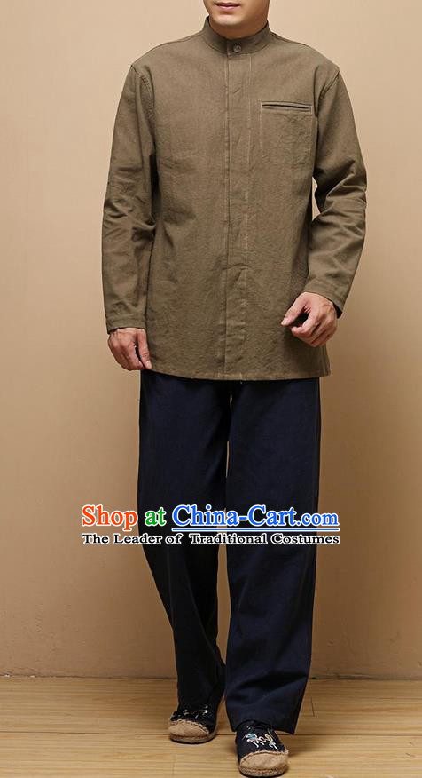 Traditional Top Chinese National Tang Suits Linen Frock Costume, Martial Arts Kung Fu Chinese Tunic Suit Brown Shirt, Sun Yat Sen Suit Thin Upper Outer Garment Blouse, Chinese Taichi Thin Shirts Wushu Clothing for Men