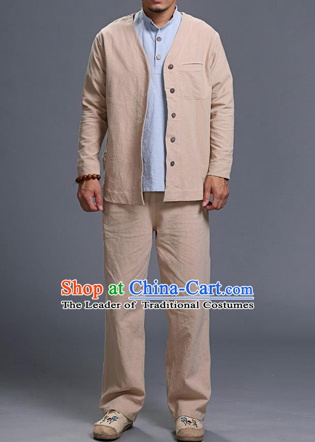Traditional Top Chinese National Tang Suits Linen Costume, Martial Arts Kung Fu Long Sleeve Beige Overcoat, Chinese Kung fu Upper Outer Garment Jacket, Chinese Taichi Thin Short Cardigan Wushu Clothing for Men