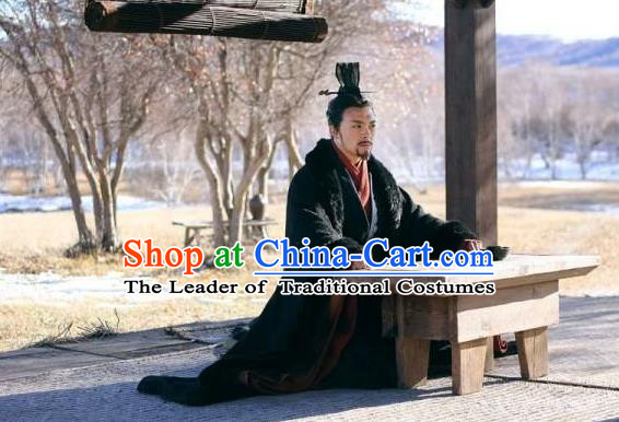 Traditional Ancient Chinese Imperial Emperor Costume, Elegant Hanfu Orphrey Dress Chinese Qin Dynasty Imperial King Embroidered Robes for Men