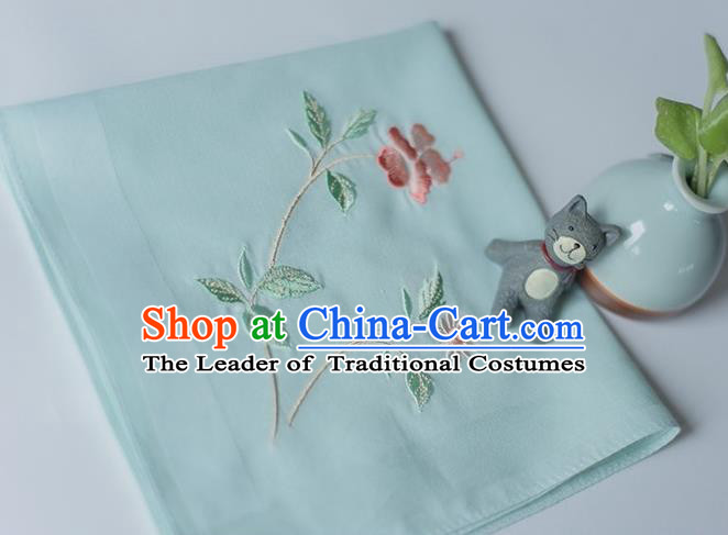 Traditional Ancient Chinese Palace Embroidered Hibiscus Rosa-sinensis Green Handkerchief for Women