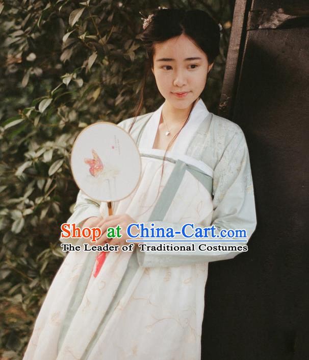 Traditional Ancient Chinese Female Costume Dress and Blouse Complete Set, Elegant Hanfu Clothing Chinese Tang Dynasty Palace Lady Embroidered Clothing for Women