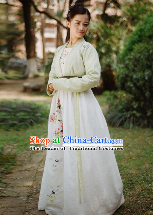 Traditional Ancient Chinese Female Costume Blouse and Dress Complete Set, Elegant Hanfu Clothing Chinese Ming Dynasty Palace Lady Embroidered Cranes Chaenomeles Speciosa Clothing for Women