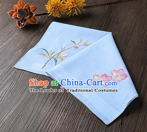 Traditional Ancient Chinese Palace Embroidered Peach Blossom Blue Handkerchief for Women