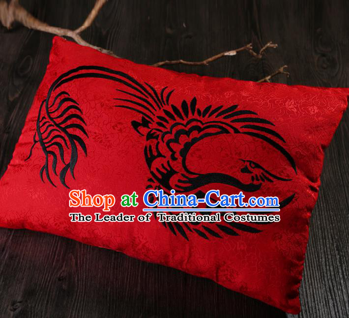 Traditional Ancient Chinese Wedding Embroidered Red Pillow Embroidered Dragon and Phoenix Bolster