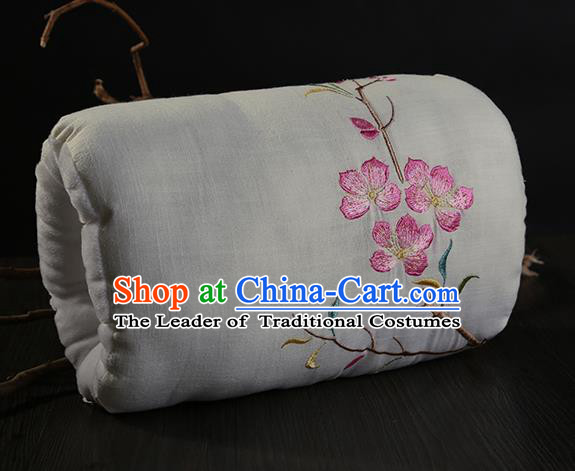 Traditional Ancient Chinese Embroidered Muff Embroidered Peach Blossom Bolster Beige Handwarmers for Women