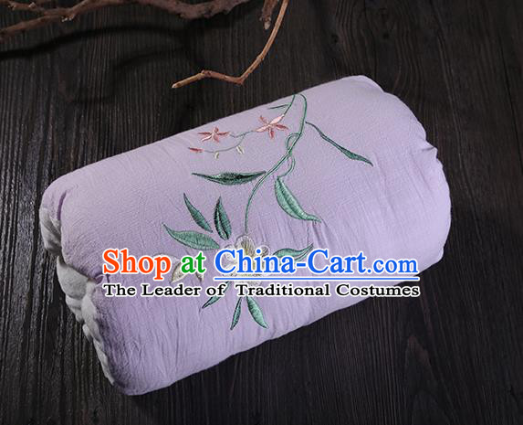 Traditional Ancient Chinese Embroidered Muff Embroidered Gardenia  Purple Handwarmers for Women