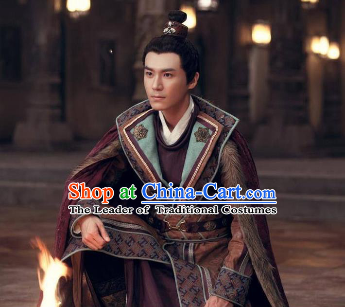 Traditional Ancient Chinese Nobility Childe Costume, Elegant Hanfu General Dress Chinese Tang Dynasty Imperial Prince Embroidered Robes for Men