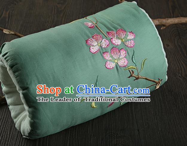 Traditional Ancient Chinese Embroidered Muff Embroidered Peach Blossom Bolster Green Handwarmers for Women