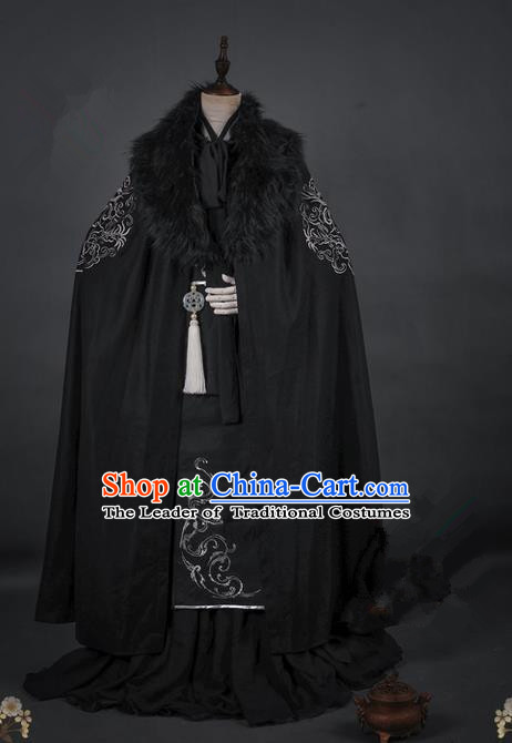 Traditional Asian Chinese Ancient Prince Cloak Costume, Elegant Hanfu Mantle Clothing, Chinese Imperial Prince Embroidered Cape Costumes for Men