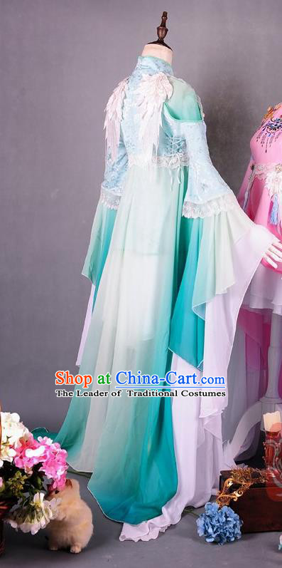 Traditional Asian Chinese Ancient Princess Costume, Elegant Hanfu Wide Sleeves Short Dance Dress, Chinese Imperial Princess Tailing Embroidered Clothing, Chinese Fairy Princess Empress Queen Cosplay Costumes for Women
