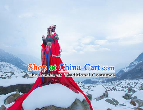Traditional Asian Chinese Princess Costume, Elegant Hanfu Armour Dress, Chinese Imperial Princess Tailing Embroidered Red Clothing, Chinese Cosplay Fairy Princess Empress Queen Cosplay Costumes for Women