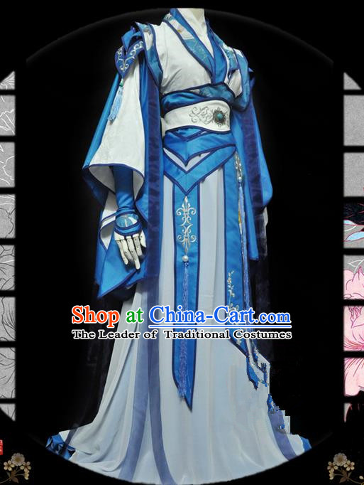 Traditional Asian Chinese Ancient Nobility Childe Costume, Elegant Hanfu Dress, Chinese Imperial Prince Tailing Embroidered Clothing, Chinese Cosplay Prince Costumes for Men