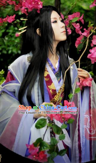 Traditional Asian Chinese Ancient Palace Costume, Elegant Hanfu Swordsman Dress, Chinese Imperial Princess Tailing Embroidered Clothing, Chinese Fairy Empress Queen Cosplay Costumes for Women