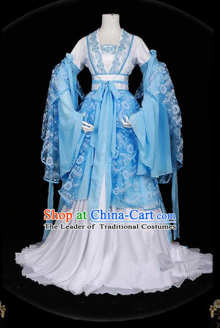 Traditional Asian Chinese Ancient Palace Princess Costume, Elegant Hanfu Water Blue Butterfly Printing Dress, Chinese Imperial Princess Tailing Clothing, Chinese Cosplay Fairy Princess Empress Queen Cosplay Costumes for Women
