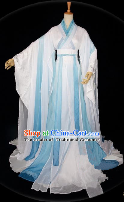 Traditional Asian Chinese Ancient Palace Princess Costume, Elegant Hanfu Water Blue Ink Painting Dress, Chinese Imperial Princess Tailing Clothing, Chinese Cosplay Fairy Princess Empress Queen Cosplay Costumes for Women
