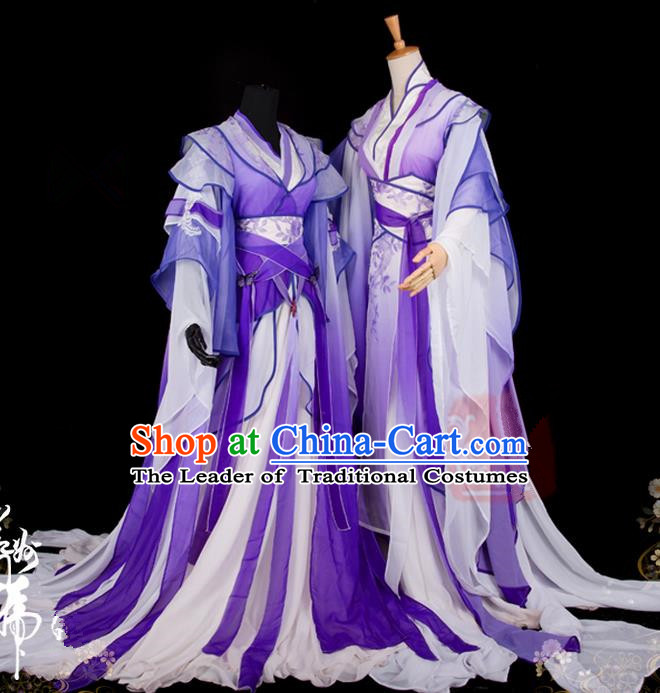 Traditional Asian Chinese Ancient Palace Couple Costume, Elegant Hanfu Wide Sleeve Violet Dress, Chinese Cosplay Swordsman Costumes for Women for Men