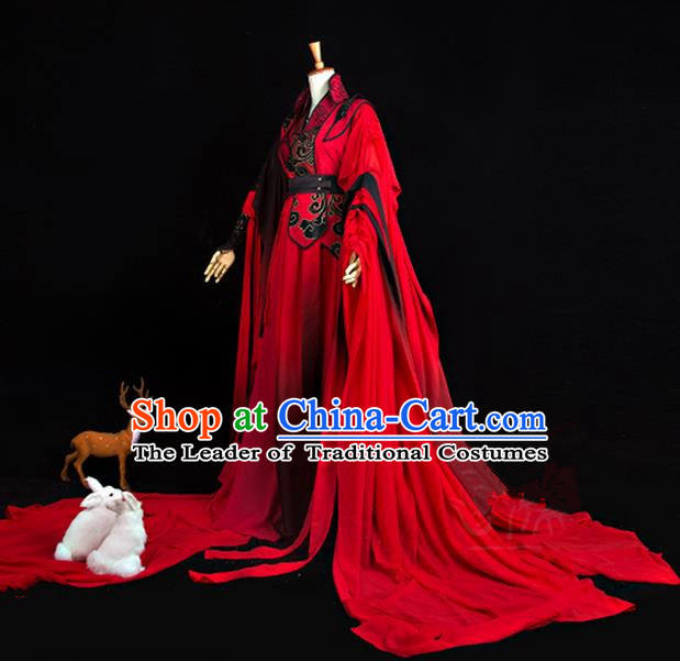 Traditional Ancient Chinese Imperial Consort Costume, Elegant Hanfu Cosplay Fairy Red Wedding Dress Chinese Han Dynasty Imperial Empress Embroidered Flowers Tailing Clothing for Women
