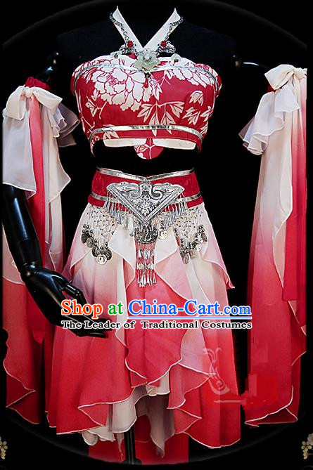 Traditional Ancient Chinese Palace Pink Costume, Elegant Hanfu Cosplay Fairy Water Sleeve Dance Short Dress, Chinese Han Dynasty Imperial Princess Clothing for Women