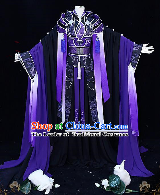 Traditional Ancient Chinese Palace King Costume, Elegant Hanfu Cosplay Prince Dress Chinese Swordsman Clothing for Men