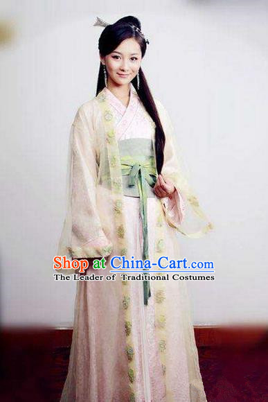 Traditional Ancient Chinese Imperial Princess Costume, Elegant Hanfu Palace Lady Dress, Chinese Tang Dynasty Embroidered Clothing for Women