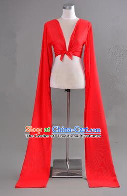 Traditional Chinese Long Sleeve Water Sleeve Dance Suit China Folk Dance Chiffon Long Red Ribbon for Women