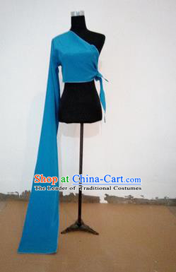 Traditional Chinese Long Sleeve Single Water Sleeve Dance Suit China Folk Dance Koshibo Long Blue Ribbon for Women