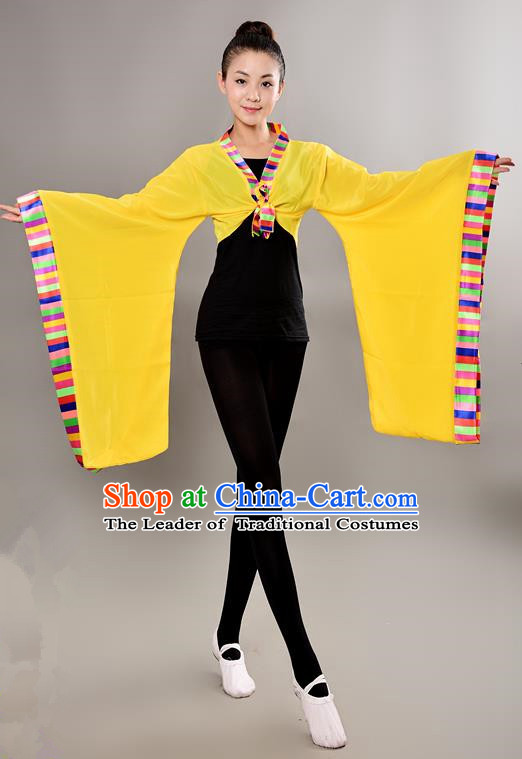 Traditional Chinese Tibetan Nationality Wide Sleeve Water Sleeve Dance Suit China Folk Dance Koshibo Yellow Blouse for Women