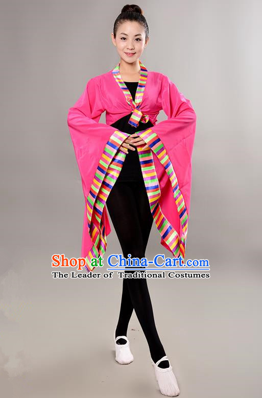Traditional Chinese Tibetan Nationality Wide Sleeve Water Sleeve Dance Suit China Folk Dance Koshibo Pink Blouse for Women